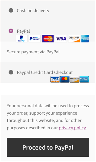 PayPal Payment at checkout