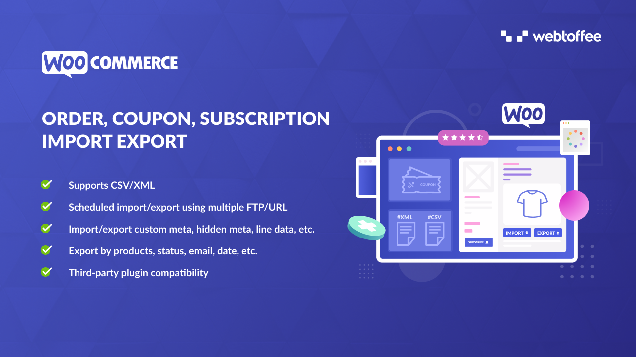 Order, Coupons, Subscriptions Import Export Plugin for WooCommerce - featured image