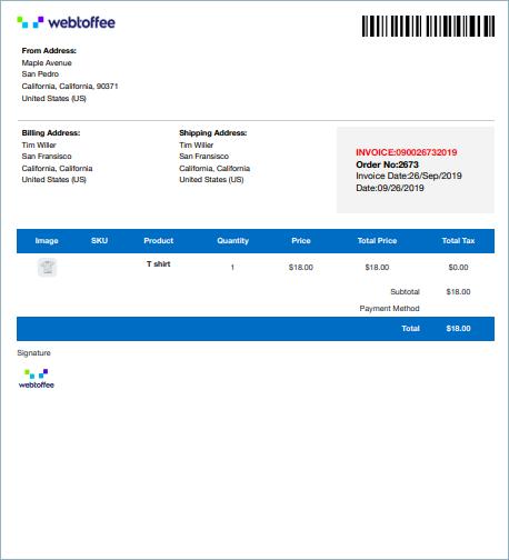 WooCommerce Invoice sample