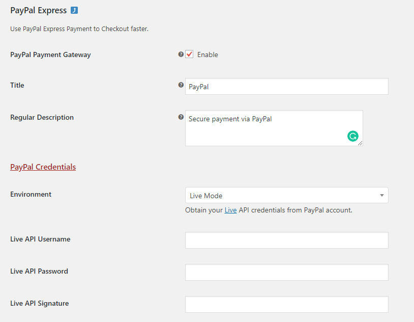 PayPal accept credit and debit card settings