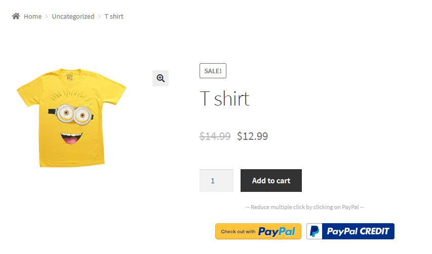PayPal express checkout from product page