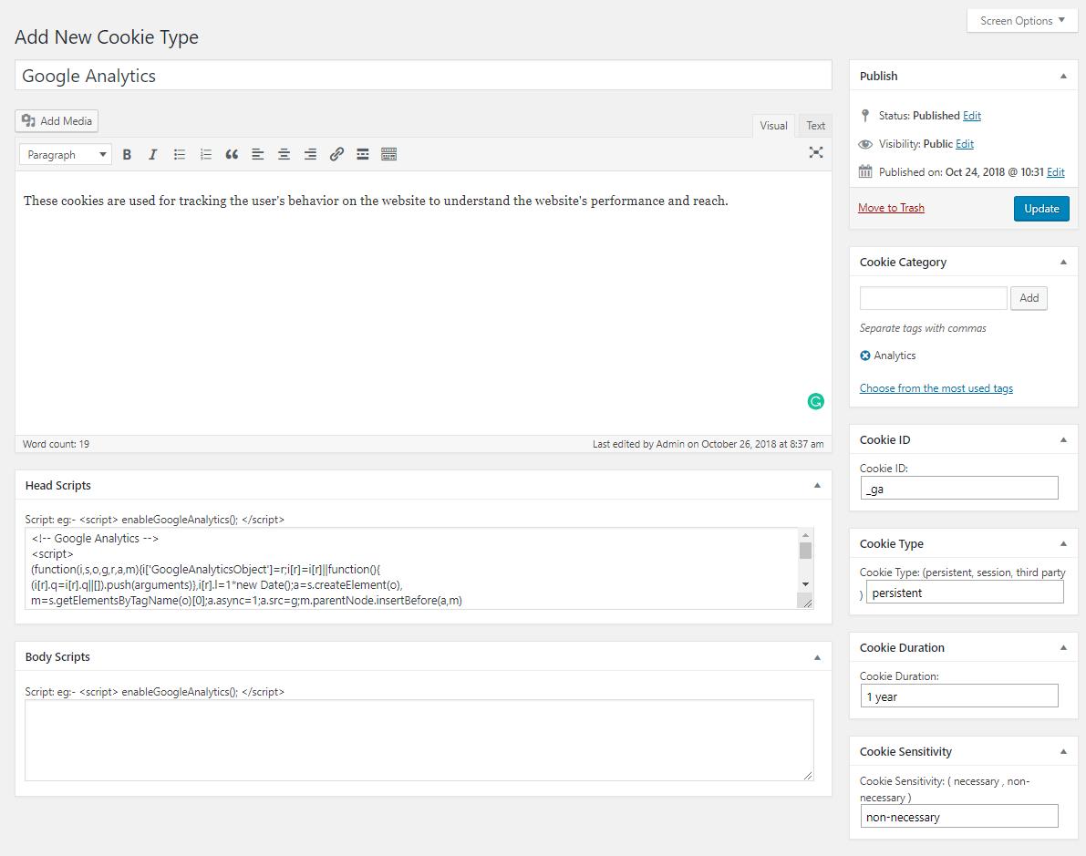 Adding Google Analytics cookie