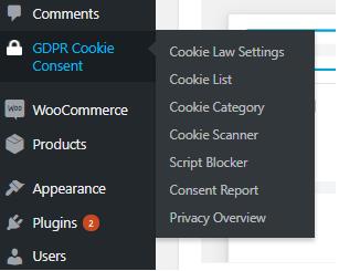 GDPR menu on WordPress dashboard