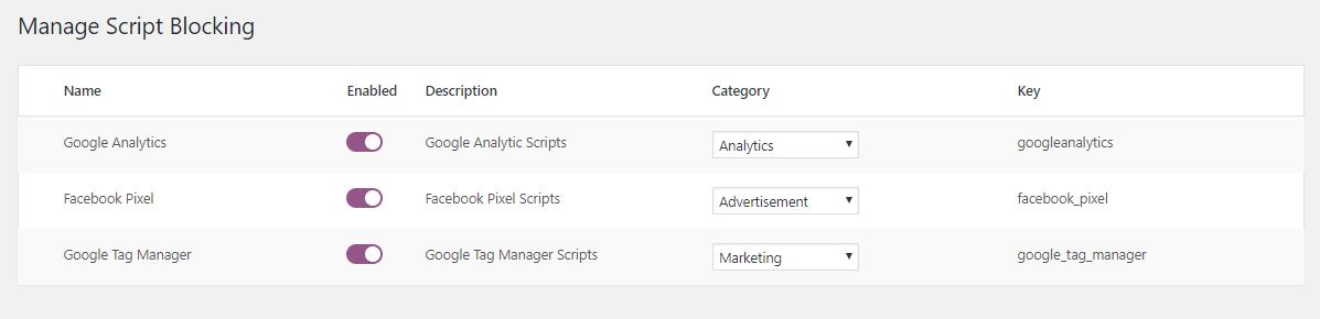 Manage script blocking