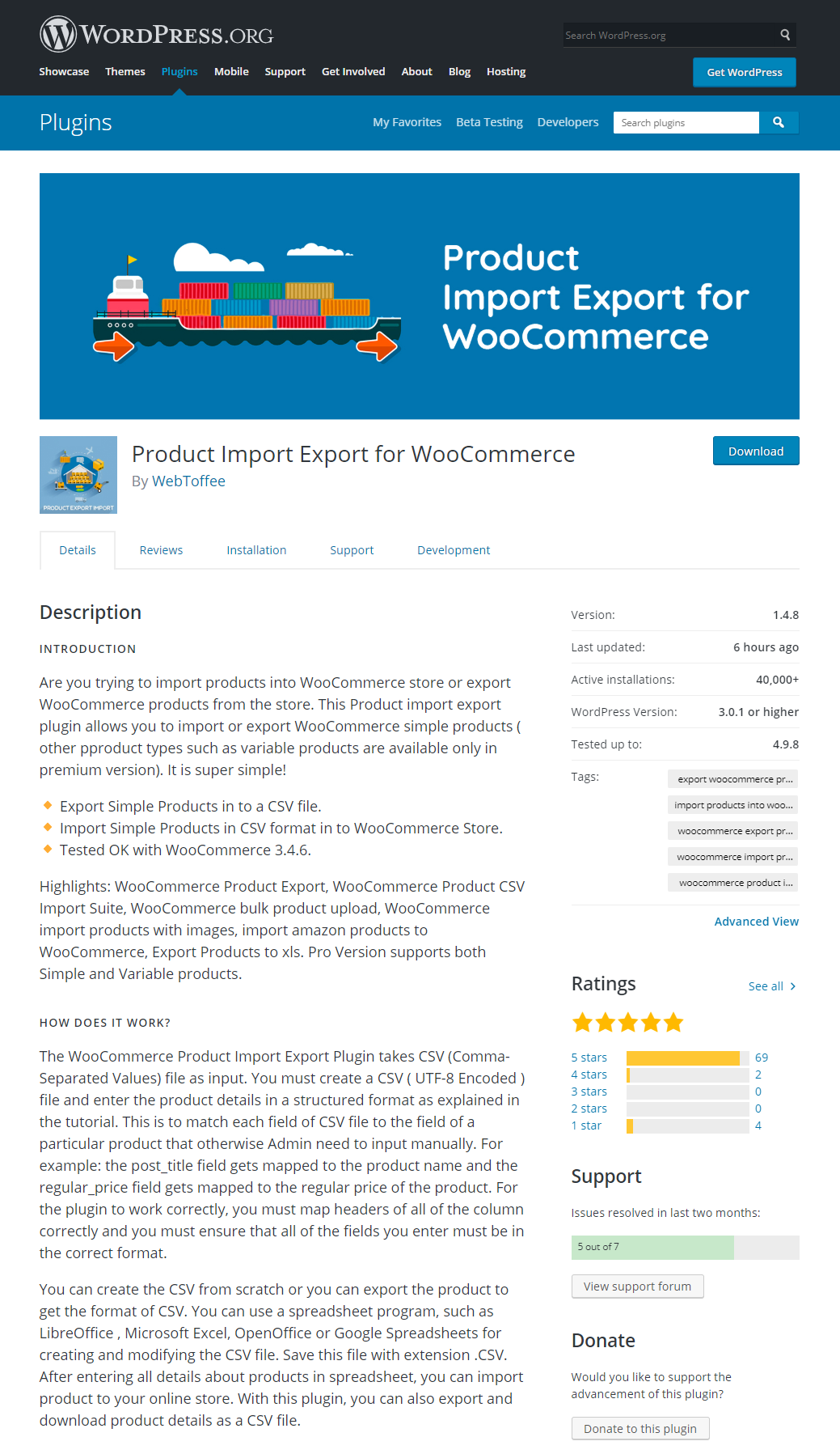WordPress directory page for Product Import Export plugin