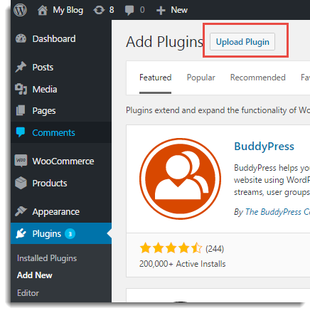 Upload zip file of the plugin