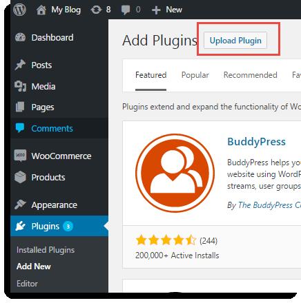 Upload zip file of the plugin