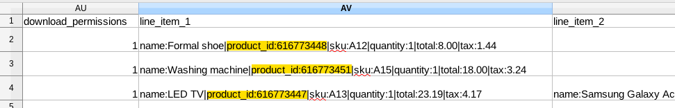Sample CSV containing line item with Product ID.