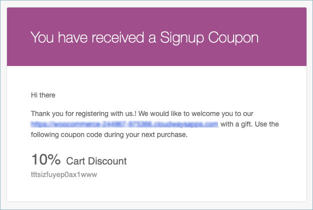 Signup Coupon Email Notification