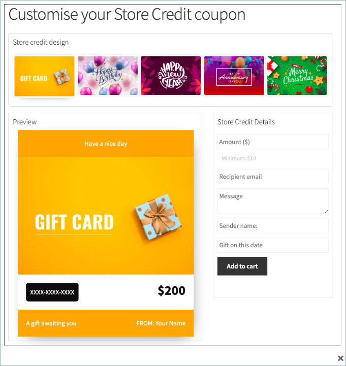 Smart Coupon for Woocommerce-Store Credit Product Preview