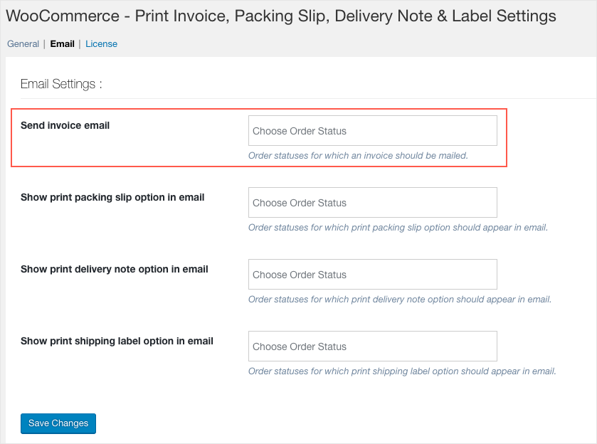 Invoice:List-Email Settings