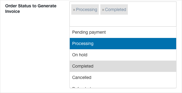 WooCommerce PDF zInvoice -Order status to generate invoice