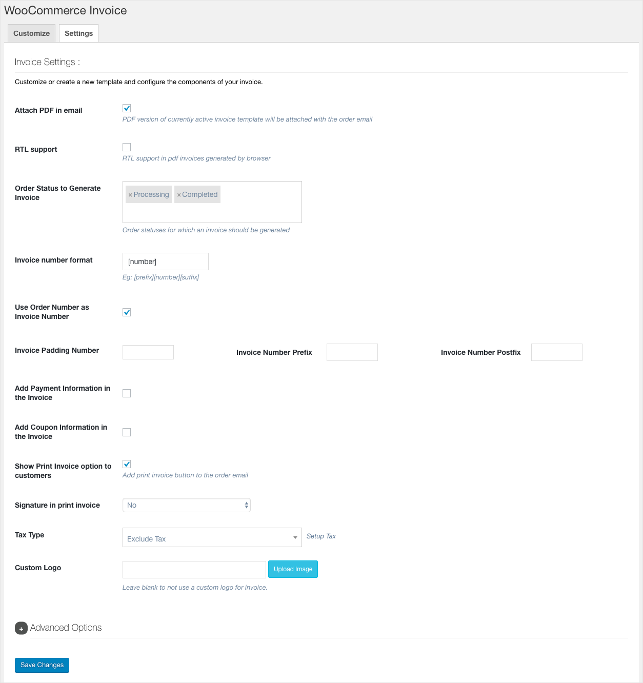 WooCommerce PDF Invoice-Settings