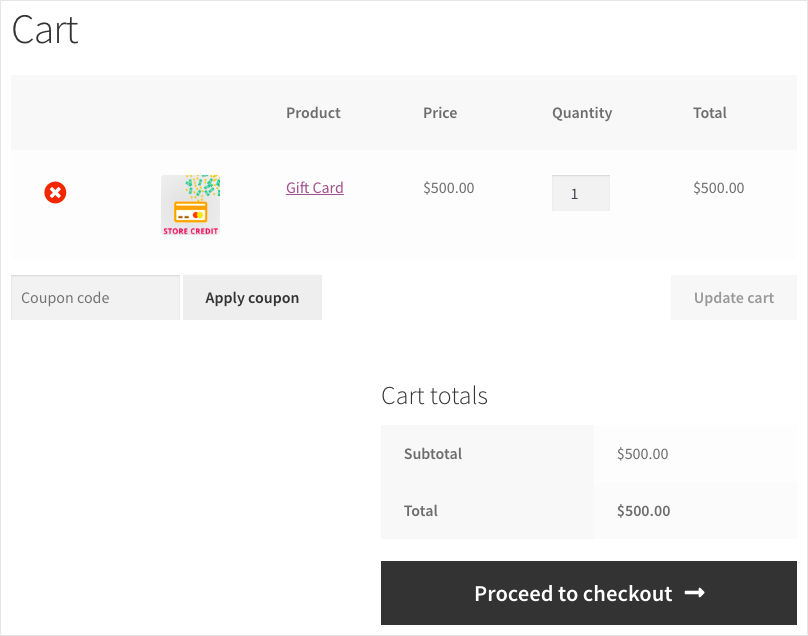 Smart Coupon for WooCommerce-Store Credit Purchase-Cart View