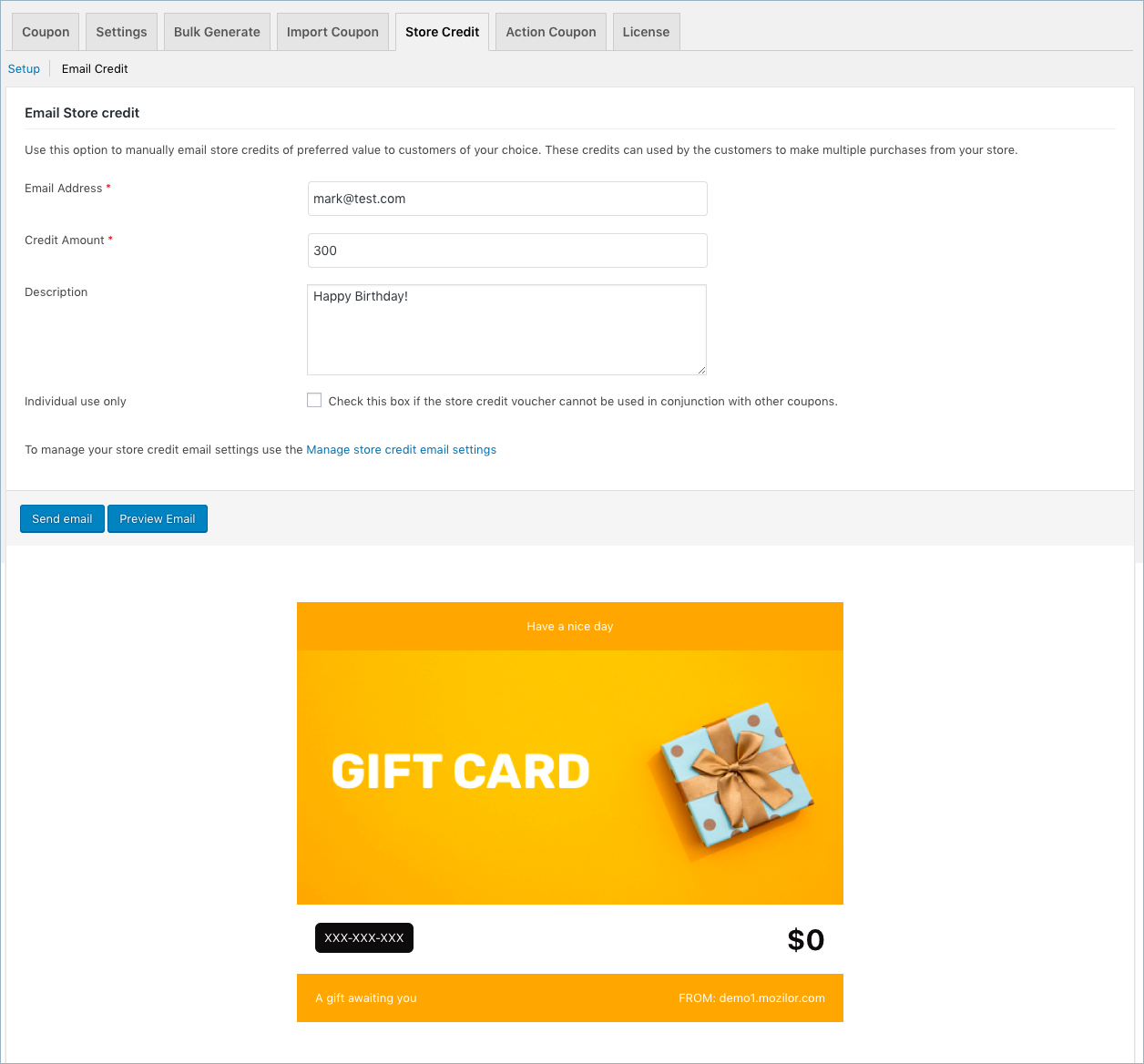 Email Store credit for WooCommerce