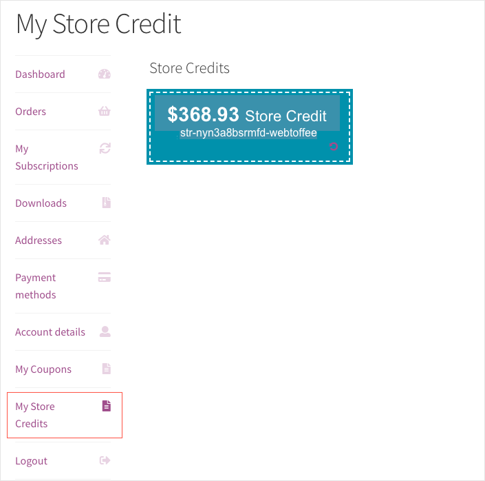 Smart Coupon for WooCommerce-My Store Credit Preview
