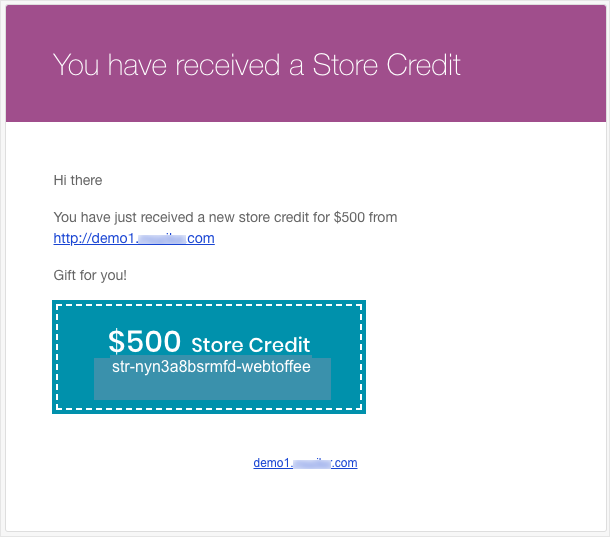 Smart Coupon for WooCommerce-Store Credit-Mail Preview