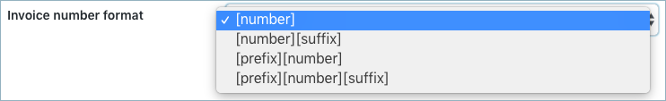 Choose invoice number format