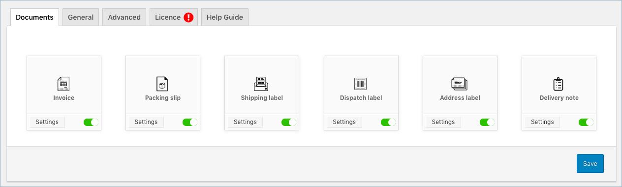 WooCommerce Invoice Pack Slip-Document Types