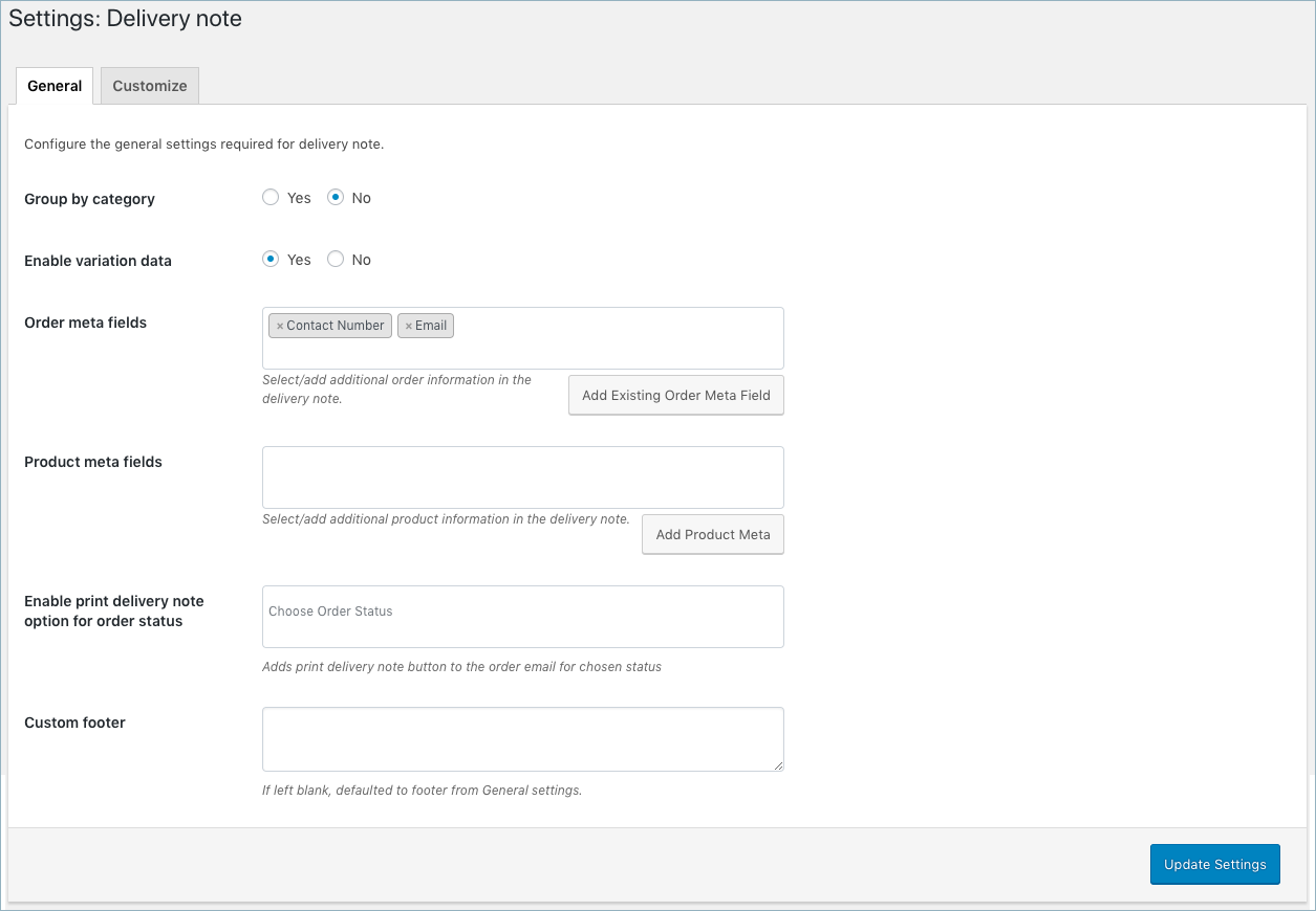 WooCommerce Invoice/Pack Slip-Delivery Note General Settings