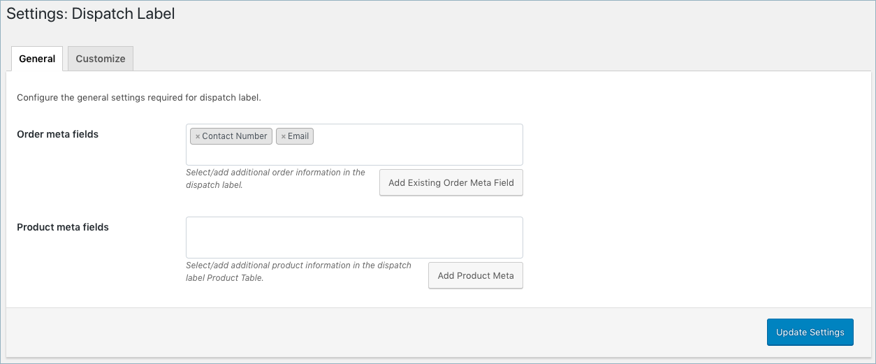 WooCommerce Invoice/Pack Slip-Dispatch Label General Settings