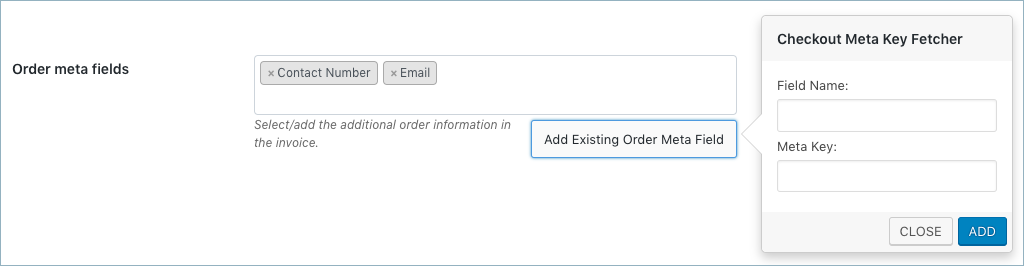 WooCommerce Invoice:Pack Slip-Invoice Advanced-Add Order meta fields