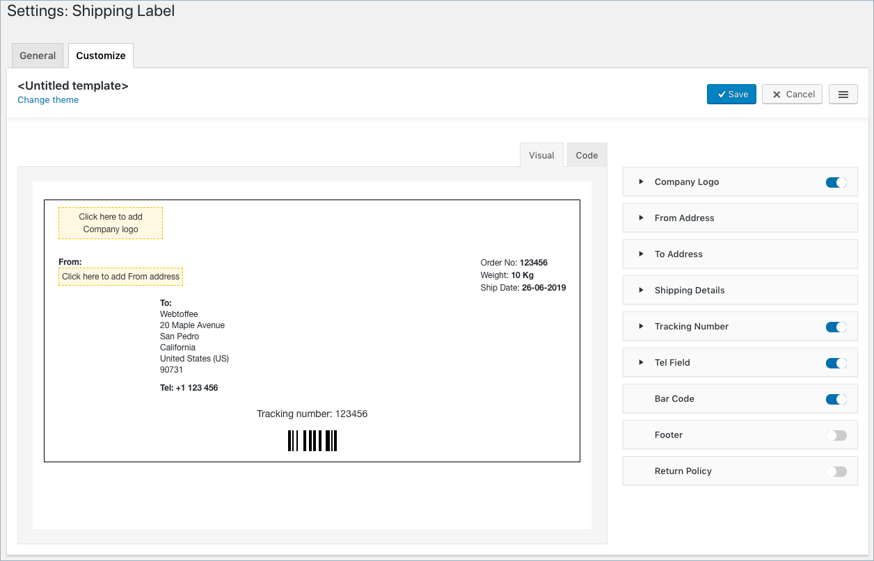 WooCommerce Invoice:Pack Slip-Shipping Label Customize