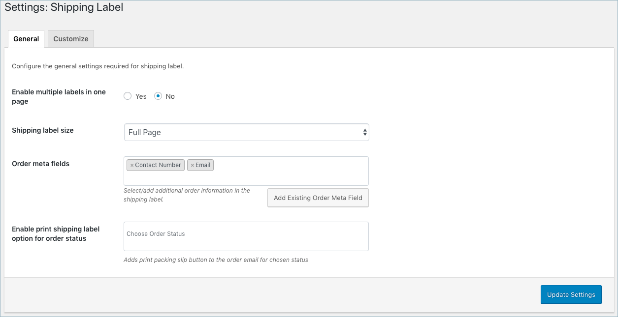 WooCommerce Invoice:Pack Slip-Shipping Label General Settings