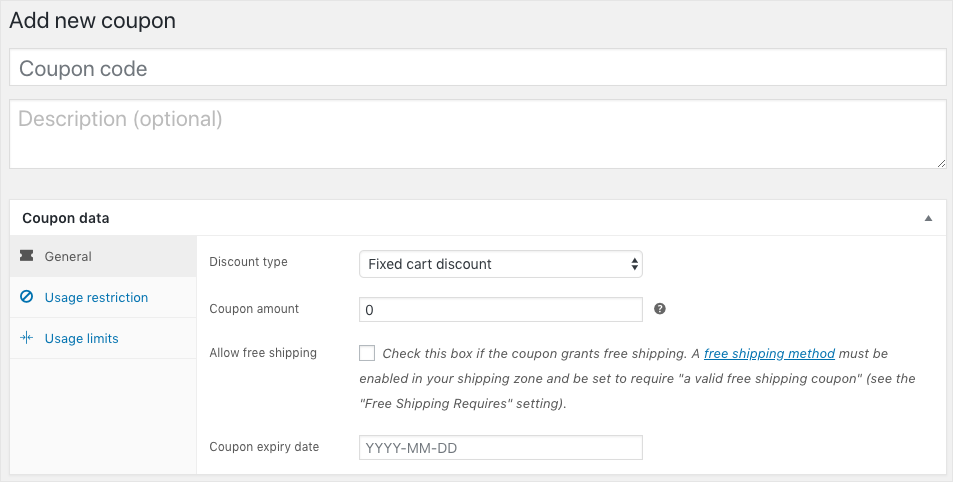 WooCommerce Coupon-Add new coupon