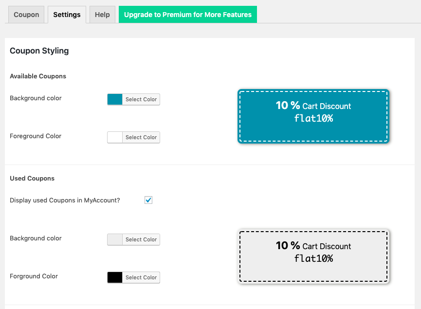 Smart Coupon for WooCommerce-Settings