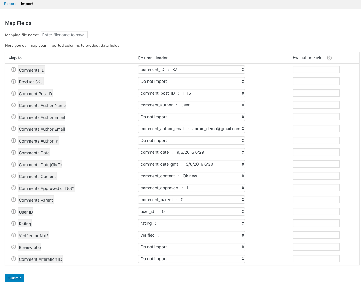 review import mapping page