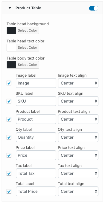 WooCommerce Invoice-Customize Tab-Product table