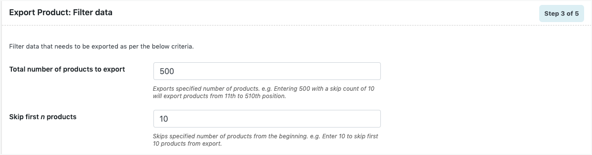 export-definite-number-of-products