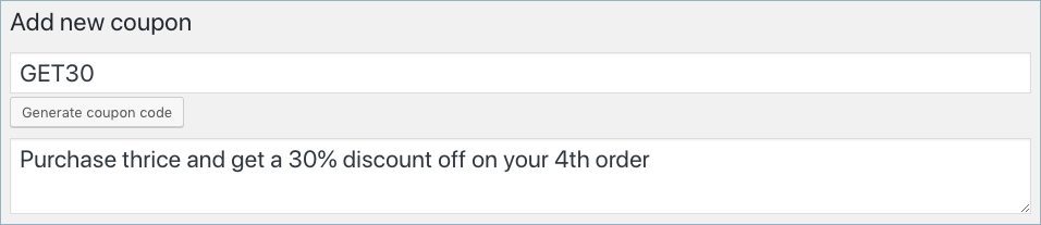 WooCommerce nth order coupon-Add new coupon panel