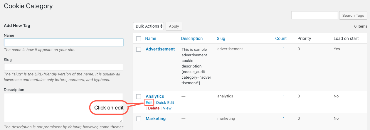 GDPR Cookie Consent-Edit Cookie Category