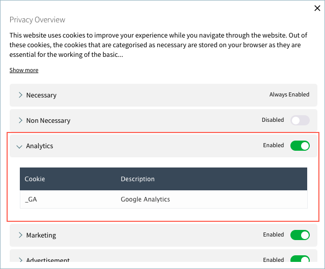 Privacy Overview-With Analytics Cookie List in two columns