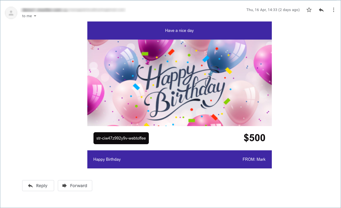 Store Credit as Gift Card in email