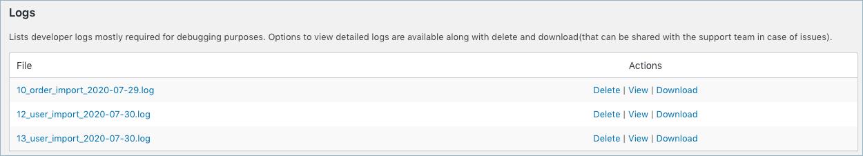 List of import logs