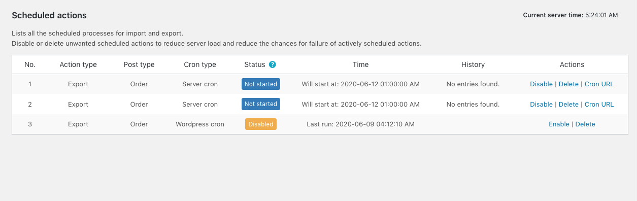 scheduled actions