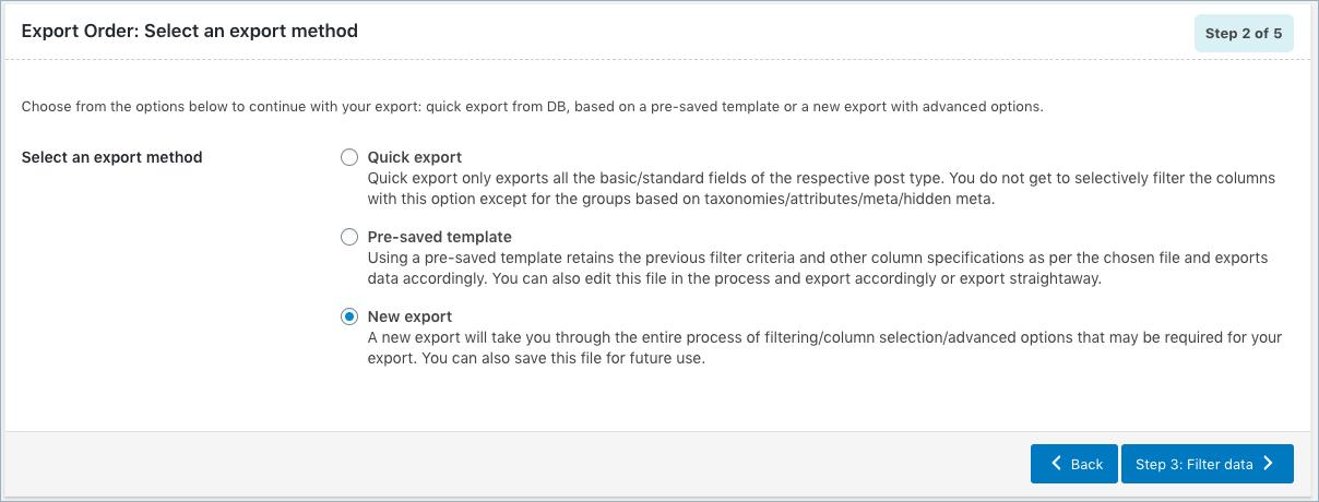 Order Export-Step 2