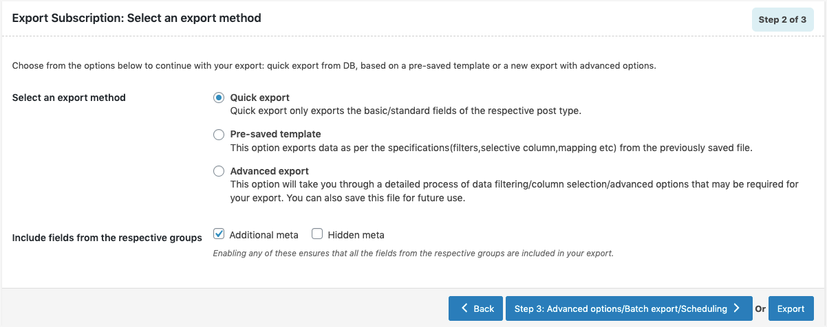 Subscriptions-Export-Quick-method