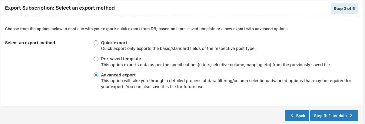 Subscriptions-Export-advanced-method