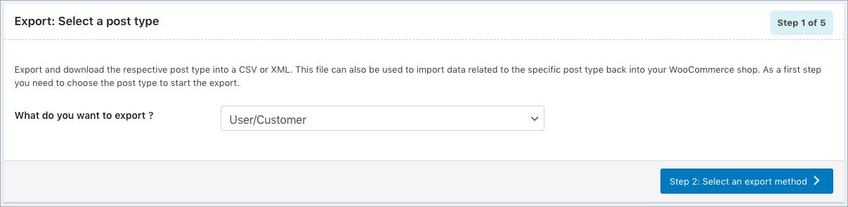 WooCommerce User Export-Step 1