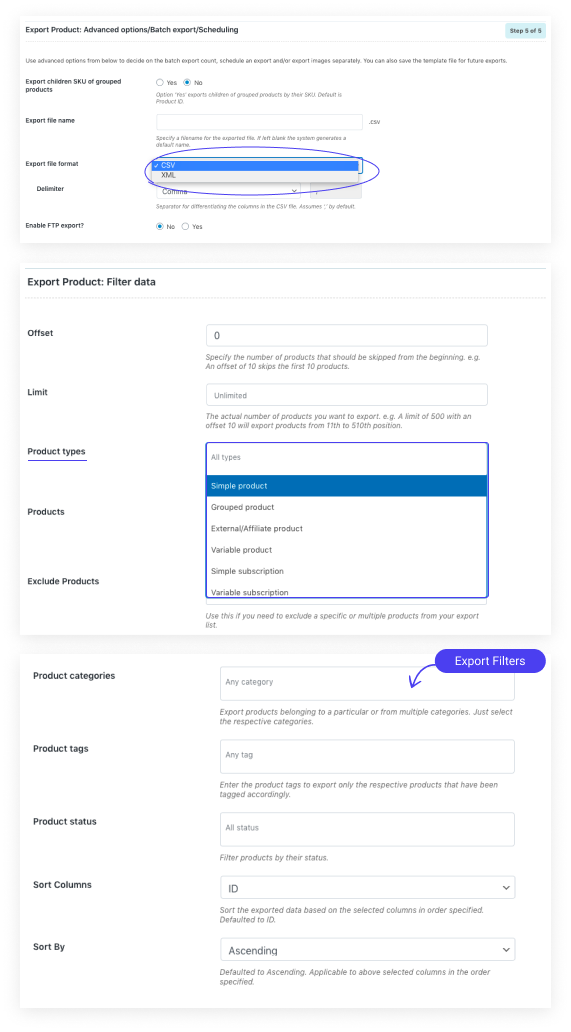 Product export screen for WooCommerce Product Import Export Plugin