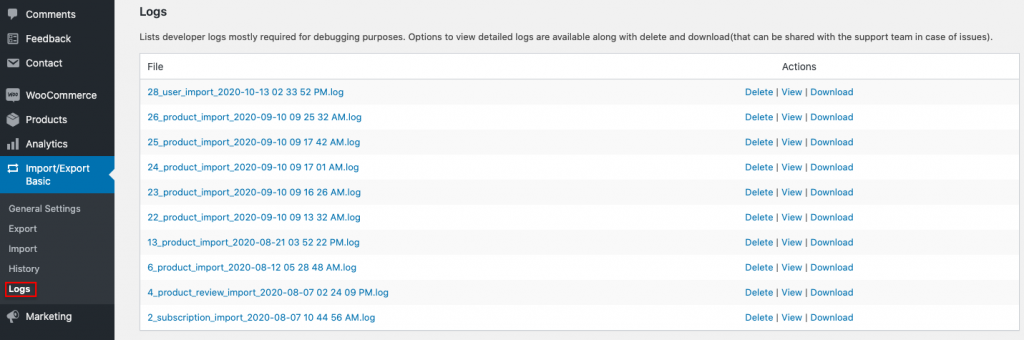 Logs section of the import export plugin