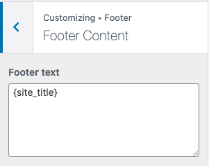 Footer content customization