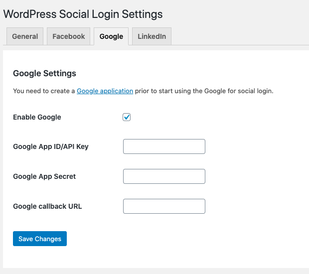 Enable login via Google