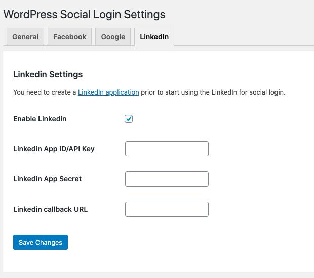 Enable login via LinkedIn