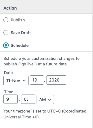 Schedule publishing date for email customizations