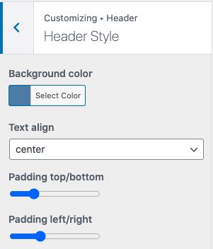 Header style customization